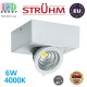 Потолочный светодиодный светильник, Strühm Poland, 6W, 4000K, накладной, алюминиевый, квадратный, белый, RA>80, IGOR LED D. ЕВРОПА!