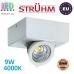 Потолочный светодиодный светильник, Strühm Poland, 9W, 4000K, накладной, алюминиевый, квадратный, белый, RA>80, IGOR LED D ЕВРОПА!