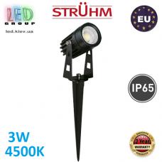 Тротуарно-грунтовой светодиодный светильник, Strühm Poland, 3W, 4500K, врезной, алюминиевый, круглый, чёрный, RA>80, PLANT LED. Польша!
