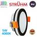 Потолочный светодиодный светильник, Strühm Poland, 5W, 4000K, врезной, алюминий + стекло, круглый, чёрный, RA>80, GOTI LED C. ЕВРОПА!