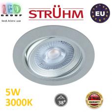Потолочный светодиодный светильник, Strühm Poland, 5W, 3000K, врезной, пластиковый, круглый, серебряный, RA≥80, MONI LED C. ЕВРОПА