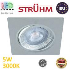 Потолочный светодиодный светильник, Strühm Poland, 5W, 3000K, врезной, пластиковый, квадратный, серебряный, RA≥80, MONI LED D. ЕВРОПА