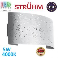 Настенный светодиодный светильник, Strühm Poland, 5W, 4000K, накладной, стальной, белый, RA>80, MIGO LED. ЕВРОПА!