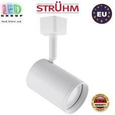 Трековый светильник/корпус, Strühm Poland, накладной, нержавеющая сталь + PC, круглый, белый, 1хGU10, HAGA. ЕВРОПА!