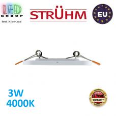 Потолочный светодиодный светильник, Strühm Poland, 3W, 4000K, врезной, сталь + пластмасса, квадратный, белый, RA>80,  SLIM IRON LED D. Польша!