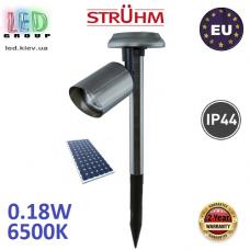 Тротуарно-грунтовой светодиодный светильник на солнечной батарее, Strühm Poland, 0.18W, 6500K, IP44, встроенный, нержавеющая сталь, хром, RA>70, ZLATAN LED. Польша!