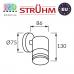 Cветильник/корпус, Strühm Poland, IP54, фасадный, накладной, нержавеющая сталь + стекло, круглый, матовый хром, 1хGU10, TARAS WLL. ЕВРОПА