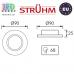 Потолочный светильник/корпус, Strühm Poland, встроенный, алюминий + стекло, круглый, матовое стекло/хром, 1хGU10, SELENA C FROSTED. ЕВРОПА