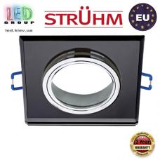 Потолочный светильник/корпус, Strühm Poland, встроенный, алюминий + стекло, квадратный, чёрный/хром, 1хGU10, SELENA D BLACK. Польша!