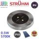 Тротуарно-грунтовой светодиодный светильник на солнечной батарее, Strühm Poland, 0.5W, 5700K, IP65, встроенный, нержавеющая сталь + пластик, круглый, хром, RA≥70, GARET LED. ЕВРОПА