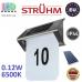 Настенный светодиодный светильник на солнечной батарее для подсветки адреса, Strühm Poland, 0.12W, 6500K, IP44, накладной, нержавеющая сталь + пластик, хром + белый, RA>70, HOMER LED. ЕВРОПА!