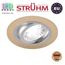 Потолочный светильник/корпус, Strühm Poland, встроенный, алюминий, круглый, бежевый/хром, 1хGU10, ALUM C. ЕВРОПА