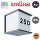 Cветильник/корпус для подсветки адреса, Strühm Poland, IP54, фасадный, накладной, алюминий + PC, квадратный, серый, 1xE27, MAXIM. ЕВРОПА