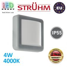 Настенный светодиодный светильник, Strühm Poland, 4W, 4000K, пластик, накладной, квадратный, серый, IP55, RA≥80, FIDO LED. ЕВРОПА