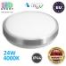 Потолочный светодиодный светильник, master LED, 24W, 4000K, RA≥80, накладной, Solen, сталь + пластик, круглый, серебряный. ЕВРОПА!