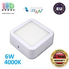 Потолочный светодиодный светильник, master LED, 6W, 4000K, RA≥70, накладной, Ortho, алюминий, квадратный, белый. ЕВРОПА!