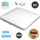 Потолочный светодиодный светильник, master LED, 30W, 4000K, RA≥80, накладной, Domin, сталь + пластик, квадратный, белый. ЕВРОПА!