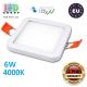 Потолочный светодиодный светильник, master LED, 6W, 4000K, RA≥70, врезной, Ortho, алюминий, квадратный, белый. ЕВРОПА!