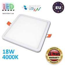 Потолочный светодиодный светильник, master LED, 18W, 4000K, RA≥70, врезной, Ortho, алюминий, квадратный, белый. ЕВРОПА!