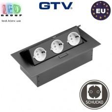 Удлинитель GTV, встраиваемый, 3 гнезда, без провода, чёрный, SCHUCKO. ЕВРОПА!!! Гарантия - 1 год