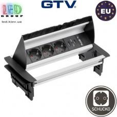Удлинитель GTV, встраиваемый, 3 гнезда, 2 USB х 2.1A 5V, провод 1.5 м, алюминий, SCHUKO. ЕВРОПА!!! Гарантия - 1 год