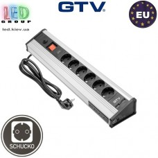 Удлинитель для офиса (угловой) GTV MULTI, 6x розеток, 4x USB data, 2xUSB 5V 2.1A с кабелем питания 1,8 м, SCHUKO