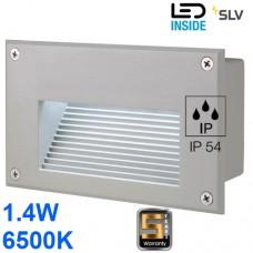 Настенный LED светильник SLV, встраиваемый, 1.4W, 6500K, BRICK DOWNUNDER, серебристый. Германия!!! Гарантия 5 лет!