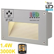 Настенный LED светильник SLV, встраиваемый, 1.4W, 3000K, BRICK DOWNUNDER, серебристый. Германия!!! Гарантия 5 лет!