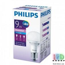 Светодиодная лампа PHILIPS, 9W, E27, 6500K - холодное свечение