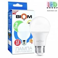 Светодиодная LED лампа Biom, 12W, E27, A60, 4500К – нейтральное свечение. BT-512. Гарантия - 2 года
