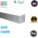 Потолочный светодиодный линейный светильник, master LED, 30W, 4500K, PF>0,9, RA>80, накладной, ALD, алюминий + PC, серебряный. Польша!