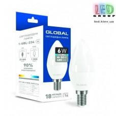 Светодиодная лампа GLOBAL, 6W, E14,  C37, CL-F, 220V, 4100К - яркий свет, AP (1-GBL-234)