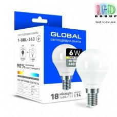 Светодиодная лампа GLOBAL, 6W, E14, G45 F, 220V, 3000К - мягкий свет, AP (1-GBL-243)