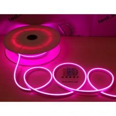 Cветодиодный гибкий неон мини 12V, LED NEON MINI - 13х5мм, цвет свечения - розовый