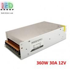 Блок питания 12V, 360W, 30А, металлический корпус, IP20, не герметичный,  для внутреннего применения