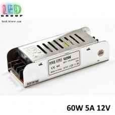 Блок питания 12V, 60W, 5А, металлический корпус, IP20, не герметичный, для внутреннего применения