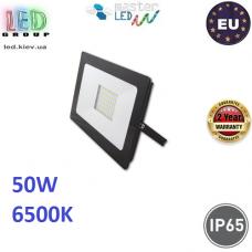 Светодиодный LED прожектор, master LED, 50W, 60xSMD 2835, 6500K, IP65, накладной, алюминий + закалённое стекло, чёрный, VEGA. Польша!