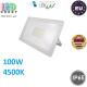 Светодиодный LED прожектор, master LED, 100W, 120xSMD 2835, 4500K, IP65, накладной, алюминий + закалённое стекло, белый, VEGA. Польша!