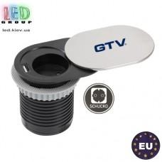 Удлинитель GTV, встраиваемый, SLIDE, 1 гнездо, 1 USB х 2.4A 5V, провод 1.9 м, серебристый, SCHUKO. ПОЛЬША!!! Гарантия - 1 год