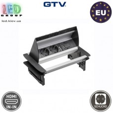 Удлинитель встраиваемый в стол GTV с щеточкой, 2 x гнезда, 1xHDMI, с проводом 1,5 м, алюминий, SCHUKO