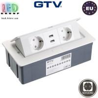 Удлинитель GTV, встраиваемый, SOFT, 2 гнезда, 2 USB х 2.1A 5V, провод 1.5 м, белый, SCHUKO. ЕВРОПА!!! Гарантия - 1 год
