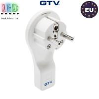 Вилка электрическая GTV (угловая, плоская),белая, 16A, 250V (без провода)