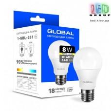 LED ЛАМПА GLOBAL A60 8W ТЕПЛЫЙ СВЕТ E27 (1-GBL-261)