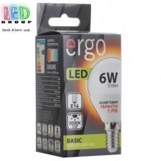 LED лампа ERGO Basic G45 E14 6W 220V 3000K Теплый белый