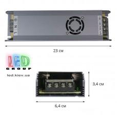Блок питания 12V, 400W, 33А, металлический корпус, IP20, не герметичный, для внутреннего применения. С кулером. Гарантия - 2 года