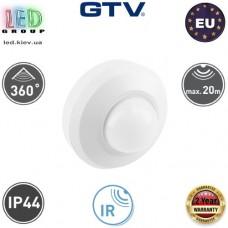 Инфракрасный датчик движения с регулировкой чувствительности сумерек GTV, 1000W, IP44, 360, CR-19, белый. Европа!!! Гарантия - 2 года