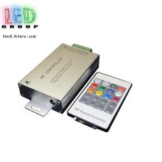 Контроллер/диммер для светодиодных лент 12-24V RGB, 24А. C пультом RF, 3 канала по 8A. Чёрный. Алюминий
