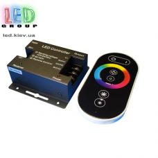 Контроллер/диммер для светодиодных лент 12V RGB, 24А. C сенсорным пультом RF, 3 канала по 8A. Чёрный. Металл