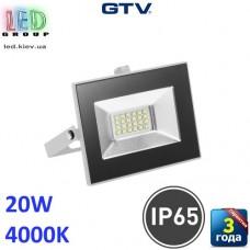 Светодиодный LED прожектор, GTV, 20W, IP65, 4000K, G-TECH, белый. ПОЛЬША!!! Гарантия – 3 года
