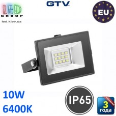 Светодиодный LED прожектор, GTV, 10W, IP65, 6400K, G-TECH, чёрный. ПОЛЬША!!! Гарантия – 3 года